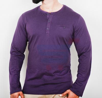 Highlander Mens Cotton Round Neck Full Sleeve T-Shirt Violet - Large