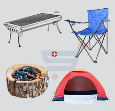 Barbecue Combo! Tent For 2 Person -PT-9513+Foldable Beach And Garden Chair, BCI-3659B-Blue+Eco Grill Small For BBQ+Portable Barbecue IT-136