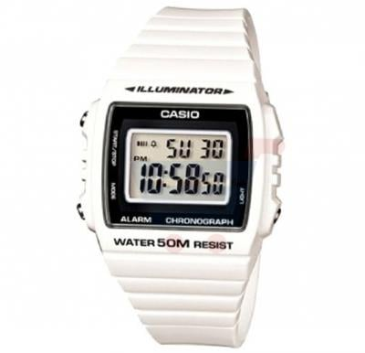 Casio Digital Dial Illuminator Watch For Men, White And Black Classic-W-215H-7A