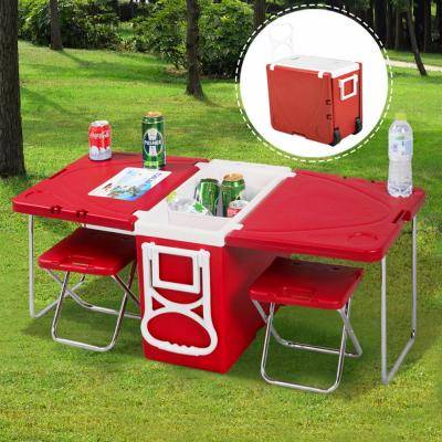 Multifunctional Rolling Cooler Box Picnic Camping Outdoor Furniture Set Folding Garden Outdoor Table + 2 Chairs, CR1003
