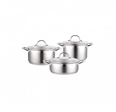 Cleenwood Stainless Steel 6Psc Cookware Set (4.3L, 4.5L,2.7L)- CW-529