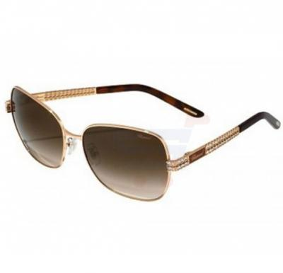 Chopard Oval Copper Gold Frame & Brown Mirrored Sunglasses For Unisex - SCHB25S-08MZ