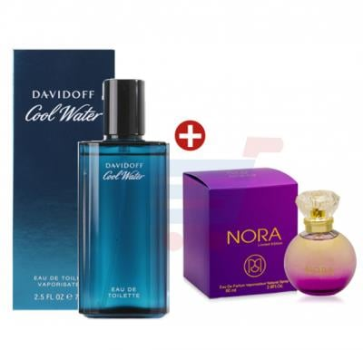 Bundle Offer Davidoff Cool Water, Perfume For Men 75 ml, Ruky Nora Purple Perfume for Women