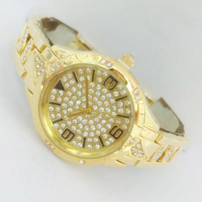 Catwalk Fashionable Cz Stone Covered Analog Stainless steel Gold Dial Watch for Women, CW1001