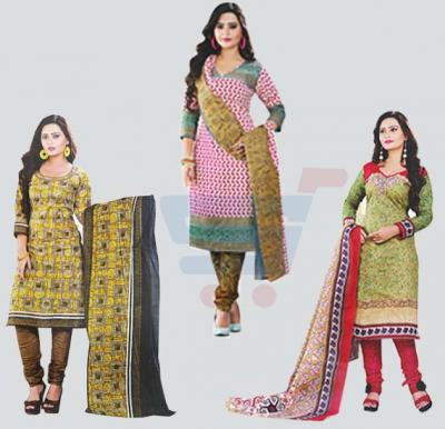 Combo Offer! Pari 110 Cotton Printed Dress Material+Pari 119 Cotton Printed Dress Material+Pari 104 Cotton Printed Dress Material