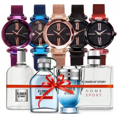 2 in 1 Bundle Pack 5 in 1 DVANS Stylish Watch For Women Assorted Colors With Flower of Story Perfume gift set, 25ml x 4 Piece, PCP01