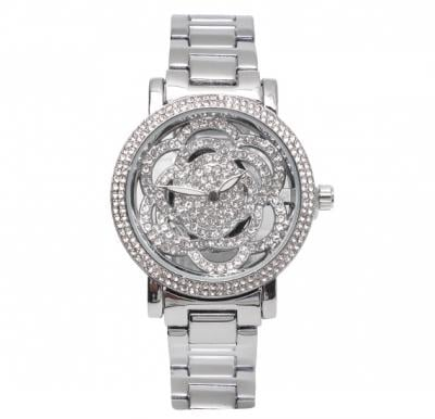 Catwalk Fashionable Cz Stone Covered Analog Stainless Steel Watch For Women CWW - 236 - Silver