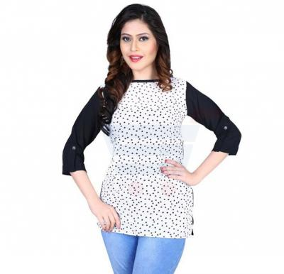 Flawless White Printed Top - 89CL089 - L