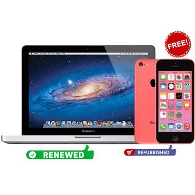 Buy Apple MacBook Pro MD103LL/A 15.4 Inch Display Intel Core i7 3615QM X4 2.3GHz Processor 4GB RAM 500GB Storage Intel HD Graphics 4000, Renewed And Get Apple iPhone 5C Pink 32GB Storage, Refurbished For Free