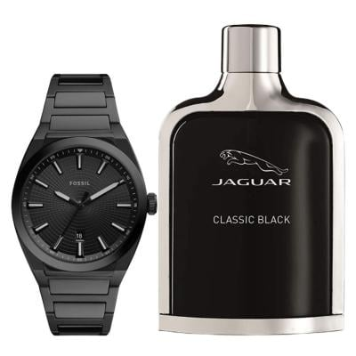 2 In 1 Fossil SP/FS5824 Analog Watch For Men And Jaguar Classic Black Edt 100ml For Men