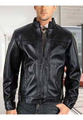 Black leather jacket - L