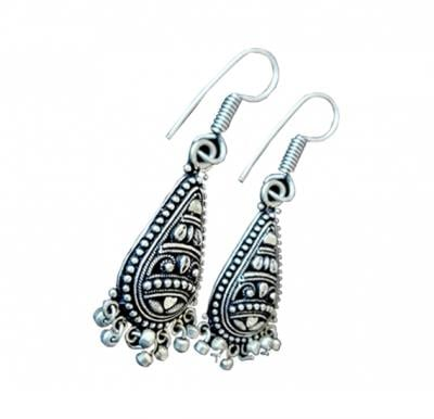 Nora Earrings White Metal Handmade -  A0064