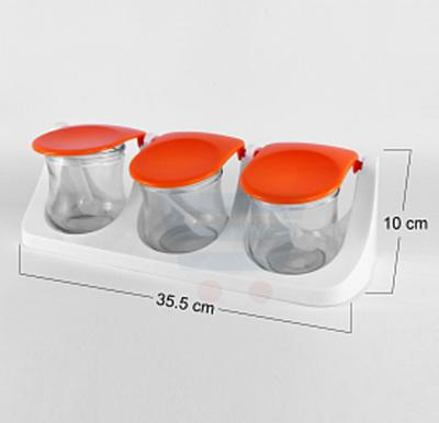 3 Pcs Domesky Glass Spice Jar Set With 3 Plastic Spoons & 1 Jar Holder Tray, 10788