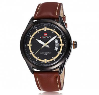 Naviforce 9045 Leather Strap Watch for Men