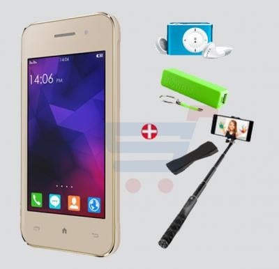 Bundle Offer! Kagoo 158 Smartphone,3G,Android5.1, Inch Display,1GB RAM,2GB Storage,Dual Camera,Dual Sim-Gold & Get MP3 Player+ Selfie Stick +Power Bank+Grip FREE