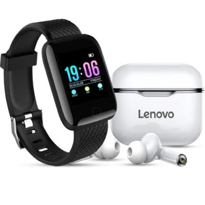 2 In 1 Lenovo LP1 Live Pod Wireless Bluetooth Earphone And D13 Smart Watches 116 Plus Heart Rate Watch Smart Wristband Sports Watch Android