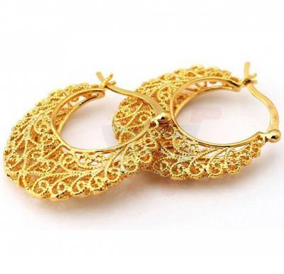 18k Real Gold Plated Excellent Craft Hollow Flowers Hoop Earrings For Women