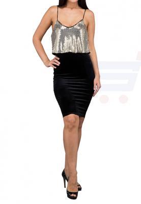TFNC London Kim Bodycon Formal Dress Silver/Black - CTT 5975 - L