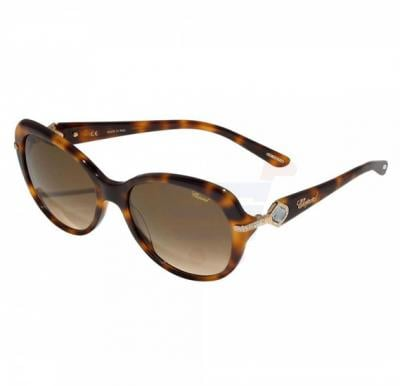 Chopard Oval Havana Frame & Brown Gradient Mirrored Sunglasses For Unisex - SCH130S-09AJ