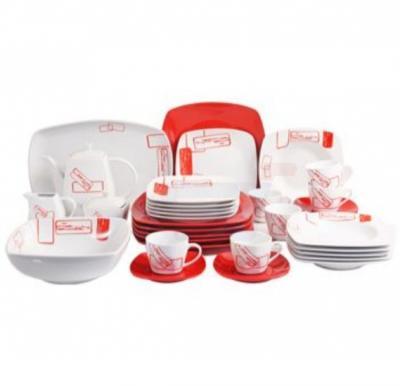 Flamingo Porcelain Square Type Dinner Set 37 PCS - FL7705PDS