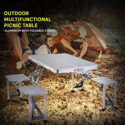 Outdoor Multifunctional Picnic Table,  Aluminium With Foldable 4 Seats FS-3695
