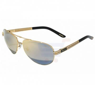 Chopard Oval Shiny Rose Gold Frame & Blue Mirrored Sunglasses For Unisex - SCHB24S-63-301G