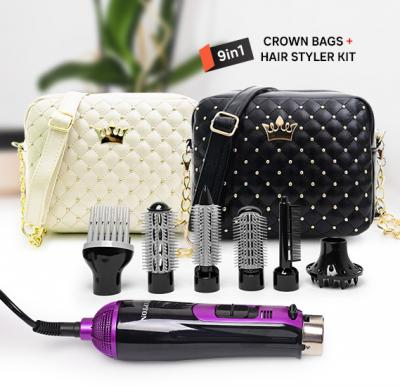 2 in 1 Fashion Pack Crown Messenger Bag Black & white with Krypton 7 in 1 Hair Styler