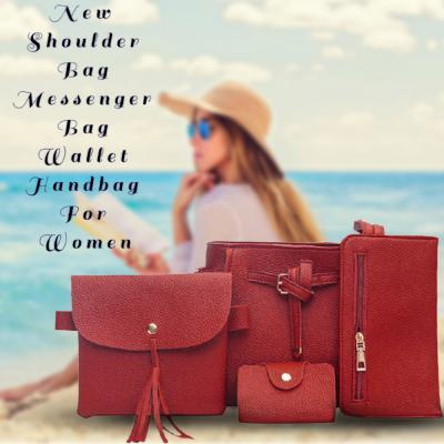Generic Fashion Four Piece Shoulder Bag Messenger Bag Wallet Handbag For Women, Red