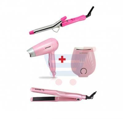 Bundle-Combo Offer Sonashi Mini Lady Shaver Pink SLD-815 + Sonashi Hair Curler SHC-3002 + Sonashi Travel Hair Dryer SHD-5001 + Sonashi Ceramic Hair Straightener SHS-2068