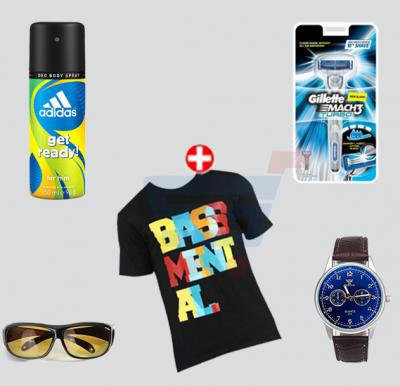 Bundle Offer Adidas perfume, Gillette Match3, Blot T shirt, HD Vision & Night Vision Sunglasses, Yazole Quartz 311 Watch For Men Leather Strap