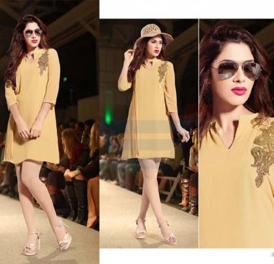 Falak Kurtis Fully stiched with Inner Light Orange - XXL