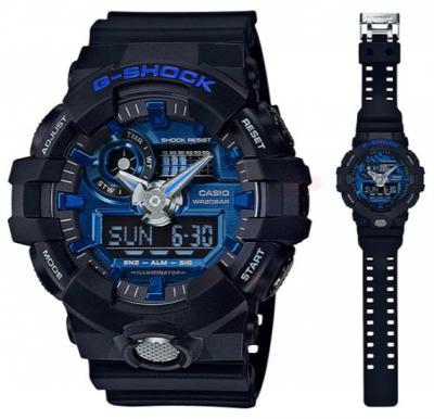 Casio G-Shock Mens AnaloGA-710-1A2DRg-Digital Black Resin Strap Watch - GA-710-1A2DR