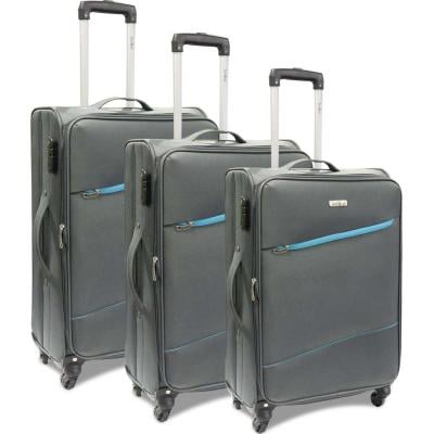 Traveller 4 Wheel Soft Trolley 3pcs Set, TR-3310, Grey