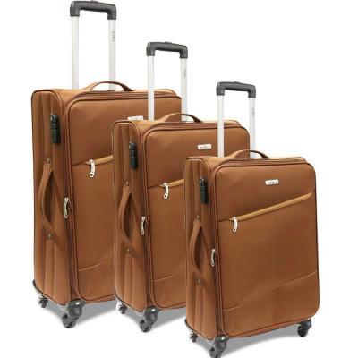 Traveller 4 Wheel Soft Trolley 3pcs Set, TR-3310, Brown