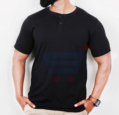 Highlander Mens Cotton Round Neck Half Sleeve T-Shirt Black - Large