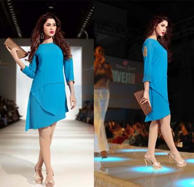 Falak Kurtis Fully stiched with Inner Blue - XXL