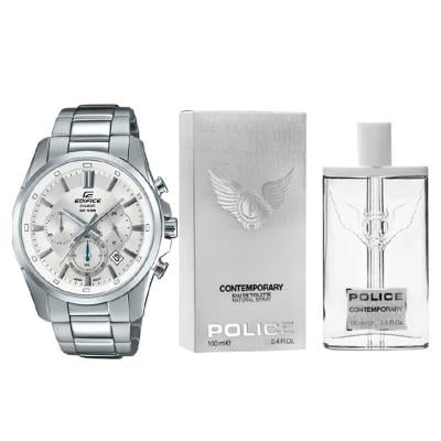 2 In 1 Casio Mens Edifice Chronograph Watch EFR-560D-7AVUDF And Police Edt Contemporary 100ml Perfume