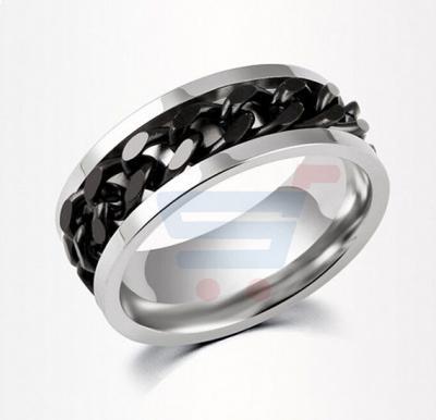 Titanium Steel chain design Ring for Men Size 9