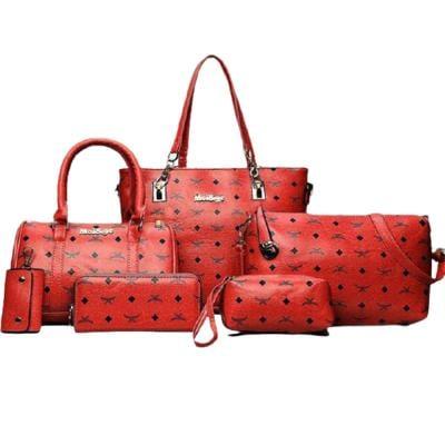 Womens 6 Pcs PU Leather Composite Luxury Print HandBag Set Red