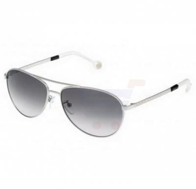 Carolina Herrera Round Silver Frame & Gradent Black Mirrored Sunglasses For Women - SHE045-0579