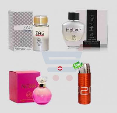 Bundle Offer! Ruky Zag Perfume for Men + Ruky Helixer Perfume for Men + Ruky Nora Pink Perfume for Women & Get Esscentric 020 Deodorant FREE