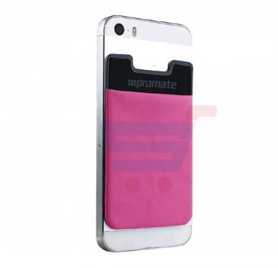 Promate Card Holder, Mobile Card Holder for Credit Metro Card Holder Pouch with 3M Rear Sticker for Apple Samsung HTC, CARDO.PINK