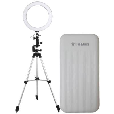 2 In 1 Lisa and Gary Portable Power Bank Dual USB 9000mAh White And Ring Fill Light 10 Inch