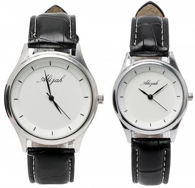 Abijah Black Strap Couple watch set, Alg009