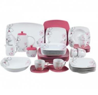 Flamingo Porcelain Square Type Dinner Set 37 PCS - FL7706PDS