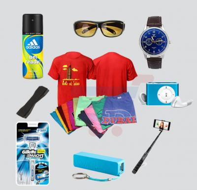 Bundle Offer 12Pcs T-Shirt Set Assorted Color For Men, Adidas perfume, Gillette Match3, HD Vision & Night Vision Sunglass, Yazole Quartz 311 Watch For Men, Power Bank, Selfie Stick, Mp3 Player & Mobile Grip