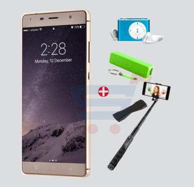 Bundle Offer W&O W3 Ultra Thin Smartphone, Android 6.0 OS, HD Display 5.5 Inch, 2GB RAM, 16GB Storage, Dual SIM, Dual Camera-Gold & Get MP3 Player, Selfie Stick, Power Bank, Grip FREE