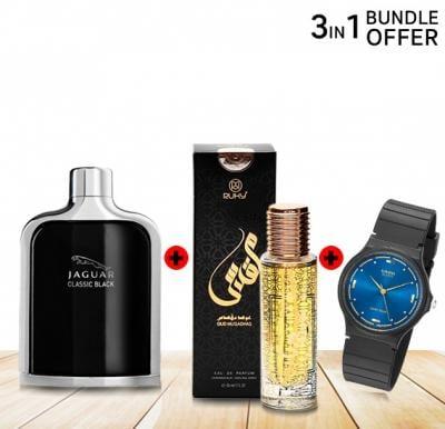 3 in 1 Special Offer, Jaguar Classic Black 100ml, Casio Analog MQ-76-2ALDF  Watch, Ruky Oud Muqadhas Eau De Perfume 30ml