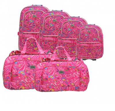 Bronco 6 in 1 travel Trolley Set, 4 piece Trolly plus 2 piece travel Bag, Pink, Citylight