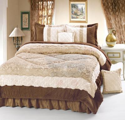 Senoures Velour Comforter 6Pcs Set King - SPV-001 Camel